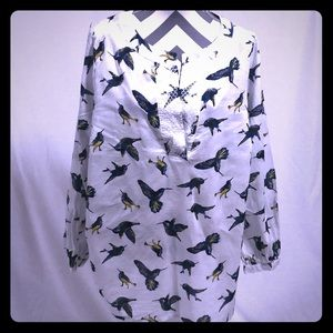 Lane Bryant Hummingbird Print Tunic Blouse 18/20